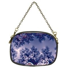 Pink and Blue Morning Frost Fractal Chain Purse (Two Sided)  from CowCow.com Front...#purses #bags #fractals #pink #blue #RoseSantuciSofranko #Artists4God #frost #Winter #designer #cowcow