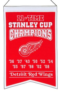 Detroit Red Wings Embroidered Wool 11-Time Stanley Cup Champions Traditions Banner