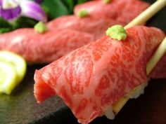 One of the many foods Japan is famous for is Kobe beef - a luxury item with a tender, well-marbeled texture. Give it a try if you are in the Kansai region of Japan!Via: en.wikipedia.org/wiki/Kobe_beef