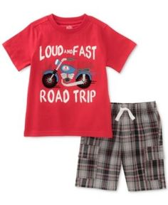 Kids Headquarters 2-Pc. Graphic-Print Cotton T-Shirt & Shorts Set, Toddler & Little Boys (2T-7) - Red