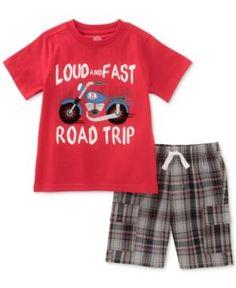 Kids Headquarters 2-Pc. Graphic-Print Cotton T-Shirt & Shorts Set, Toddler & Little Boys (2T-7) - Red