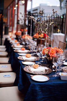 Cobalt, soft orange, golds and peacock feathers | Engagement Party in Nashville, Flowers by Enchanted Florist, Image by Chris and Adrienne Scott