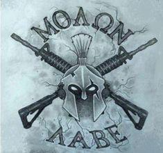 If you support the #2ndamendment THEN FOLLOW >>>> @AZWS #2A #UnitedWeStand #NRA #BadAss #MOLONLABE #GUNS #RT Mens Arrow Tattoo, Tattoo Font For Men, Molon Labe Tattoo, Spartan Helmet Tattoo, Farmer Tattoo, Sparta Tattoo, Armas Wallpaper, Eagle Sketch, Tribal Cross Tattoos