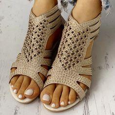 Luxury Gladiator Sandals – Boho Vibes Open Toe Sandals, Gladiator Sandals, Cut Out Design, Gold Price, World Of Fashion, Wedge Sandals, Wedges, Boho, Luxury