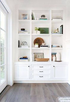 """Inspiration: Soft and Warm Love the shaker style doors; note the middle """"third"""" is larger than the two side panels; think squares.Love the shaker style doors; note the middle """"third"""" is larger than the two side panels; think squares. Bookshelf Styling, Built In Bookcase, Bookcases, White Bookshelves, Bookshelf Ideas, Bookshelf Design, Built In Shelves Living Room, Custom Bookshelves, Modern Bookshelf"""