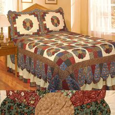 @Overstock - Bring a rustic charm into any bedroom with country quilt fabric. This patchwork quilt set is made of machine-washable cotton, and it comes with a quilt and one or two pillow shams depending on your bed size.    http://www.overstock.com/Bedding-Bath/Dresden-Plate-Cotton-Patchwork-Quilt-Set/2298840/product.html?CID=214117 $76.49