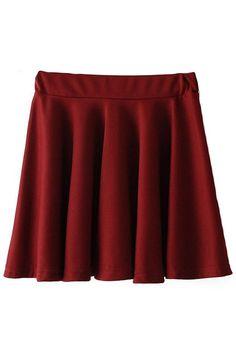 ROMWE | Elastic Pleated Deep Red Flare Skirt, The Latest Street Fashion