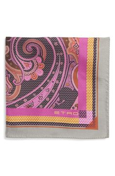 Etro Dot & Paisley Print Silk Pocket Square