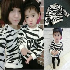 Family Clothing Fashion zebra stripe hoodies Mother Daughter Soft Cotton Clothes Mother Son sports T shirt kids clothes retail