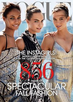 Vogue Magazine puts three women on the September issue. And a spectacular pull out showing nine top models.      Photo: Mario Testino / Vogue