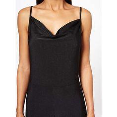Miss Selfridge Black Slinky Rib Jumpsuit ($61) ❤ liked on Polyvore featuring jumpsuits, black, miss selfridge, jump suit, sleeveless jumpsuit, plunge jumpsuit and miss selfridge jumpsuit