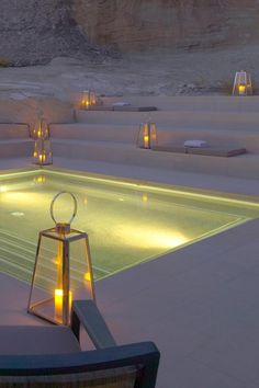 Among the awe-inspiring canyons and mesas of southern Utah, Aman Resort's second American property, practically carved into the ancient landscape, is a modern minimalist's dream. Hotels In Utah, Hotels And Resorts, Aman Utah, Amangiri Resort Utah, Outdoor Lighting, Candle Lighting, Landscape Elements, Terrace Design, Beautiful Hotels
