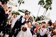 Staged exit with bubbles at Disney's Wedding Pavilion- sealed with a kiss