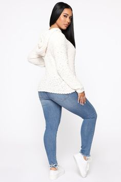 Just A Homebody Hooded Sweater - Ivory – Fashion Nova Hooded Sweater, Sweater Coats, Long Sleeve Sweater, Pullover Sweaters, Very Good Girls, Black Sequin Dress, Sporty Girls, Fashion Nova Models, Sweater Fashion