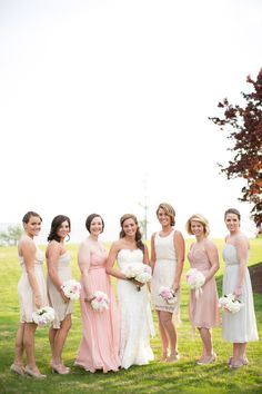 Mismatched bridesmaids dresses, different bridesmaids dresses, spring wedding, neutral color palette, pink and champagne wedding, Christina + Josh | Kingsmill Resort, Williamsburg Virginia Jen + Ashley Photography