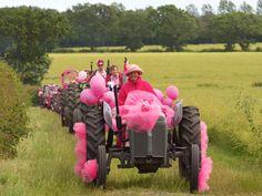Pink Ladies on Tractors--real women drive tractors.