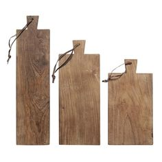 The Living Lounge - Set of 3 Teak Serving Boards - Reclaimed Teak - Wood