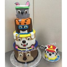 Paw Patrol 4 tiered cake & matching smash cake | Yelp