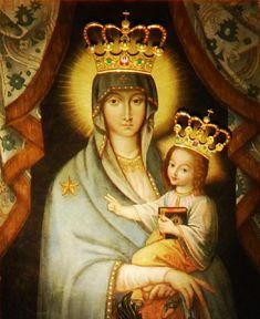 """MD Mangâietoarea, Catedrala din Gniezno, Polonia, o variantă de sec. al XVII-lea al Mariei """"Salus Populi Romani"""". Purtând coroană. Lipseşte inelul de pe degetul mijlociu al mâinii drepte. /-/-/ """"Our Lady of Consolation,"""" Gniezno Cathedral, Poland, a 17th c. copy of the Virgin """"Salus Populi Romani"""" crowned. Ring on right-hand middle finger missing."""