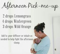 """""""Afternoon Pick me up 2 drops Lemongrass 4 drops Wintergreen 3 drops Wild Orange Add to your diffuser or inhale as needed to help fight the afternoon slump. Yl Oils, Essential Oil Diffuser Blends, Doterra Oils, Doterra Essential Oils, Doterra Diffuser, Doterra Wintergreen, Young Living Oils, Young Living Essential Oils, Doterra Blends"""