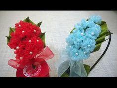 How to make kanzashi hair bow,Diy ribbon bow,baby headband tutorial Nylon Flowers, Satin Ribbon Flowers, Diy Ribbon, Ribbon Crafts, Felt Flowers, Flower Crafts, Diy Flowers, Fabric Flowers, Kanzashi Tutorial