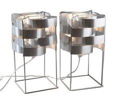 Paire de lampes à poser Max Sauze, modèle Venus en aluminium