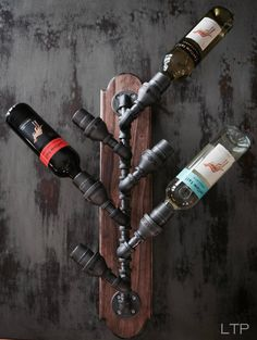 Industrial Pipe Wine Rack Bottle Holder