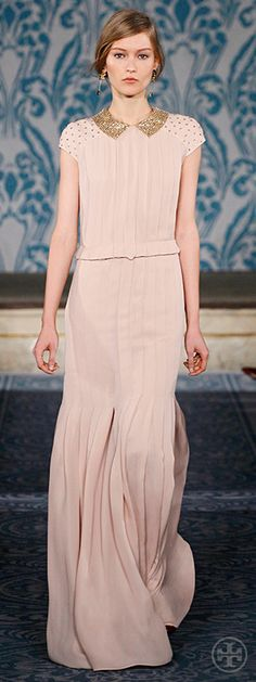 Tory Burch Fall 2013 | Sequined-collar pleated satin georgette dress