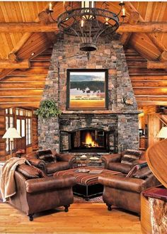 Stone fireplace and leather furniture