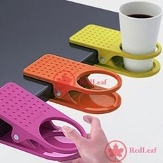 [Hot] New Home Office Drink Cup Coffee Holder Clip Desk Table wholesale-in Hangers & Racks from Home & Garden on Aliexpress.com