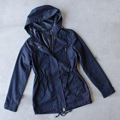 Womens hooded utility parka jacket with drawstring waist - navy - shophearts - 1