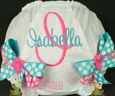 PERSONALIZED Baby to Toddler Diaper Cover Tutu Bloomer in Hot Pink and Turquoise for Little Girls - MONOGRAMMED Custom. $17.95, via Etsy.
