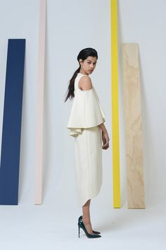 Creamy winter off white and long ruffle pretty with shoulder sneak peek. Assoulin makes high fashion evening wear effortless.  Rosie Assoulin Fall 2014 Ready-to-Wear Collection Slideshow on Style.com