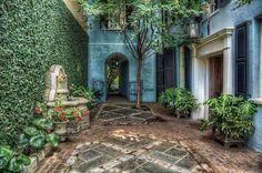A Courtyard on Rainbow Row in downtown Charleston, SC