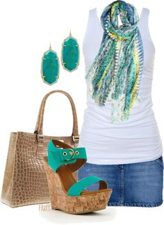 """Aqua Wedge Sandal"" by fluffof5 on Polyvore"