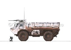 """Painting : """"Renault/Saviem VAB (Original art by Hubert Cance) Military Gear, Military Weapons, Military Vehicles, Army Structure, French Army, Armored Vehicles, United Nations, Heavy Equipment, Fire Trucks"""