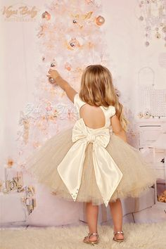 Ivory gold glitter flower girl tutu dress with by FabTutus on Etsy