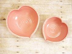 Valentine Heart Nesting Bowl Set Large Ceramic by MyMothersGarden, $41.00