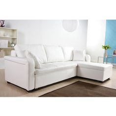 @Overstock - Go for a simple yet elegant modern look in your living room or den with this stylish convertible white sectional sofa bed. This handsome leatherette sofa with contemporary detailed stitching conveniently doubles as a bed for unexpected guests.http://www.overstock.com/Home-Garden/Charlotte-White-Faux-Leather-Convertible-Sectional-Sofa-Bed/6433991/product.html?CID=214117 $999.99