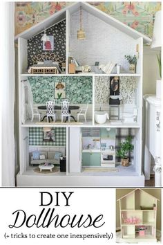Tips and tricks for using what you already have and repurposing every day items from around the house to create a beautiful, real-looking dollhouse.