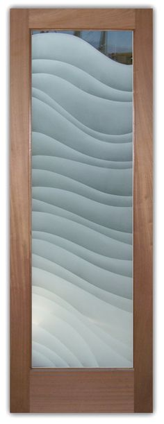 Glass Doors With Etched Sandblast Etching Wavy Shapes Dreamy Waves Modern Style