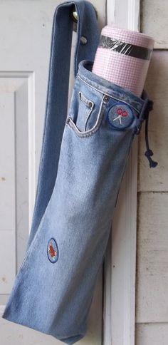 Denim Yoga Mat Bag Made From Repurpurposed Jeans