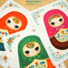Matryoshka, Fabric, DIY Fabric Doll, Cushion, DIY Sewing, byDressyDoll