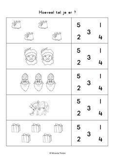 Hoeveel tel je er ? [Miranda Tholen] Saint Nicolas, Advent, Kindergarten, Letters, Teaching, Preschool, Activities, Preschool Christmas, Math Resources