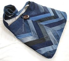 Ooak Bohemian Sling bag, XLarge Patchwork Denim Bag,  Recycled, Crossbody or shoulder, Large size