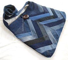 Ooak Bohemian Sling bag, XLarge Patchwork Denim Bag,  Recycled, Crossbody or shoulder, Large size