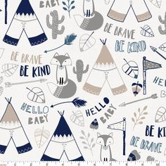 Navy Brave Fox Fabric by Carousel Designs.