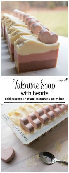 Soap with Hearts Recipe This cute Valentine soap recipe features chocolate-scented cocoa butter and natural colorants.This cute Valentine soap recipe features chocolate-scented cocoa butter and natural colorants. Diy Cosmetic, Savon Soap, Soap Making Supplies, Homemade Soap Recipes, Soap Making Recipes, Homemade Scrub, Homemade Paint, Homemade Crafts, Diy Crafts