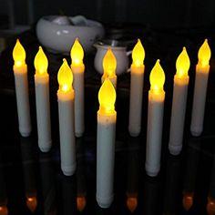 Meily 12個セット LED キャンドル ライト 本物そっくり 無煙蝋燭 室内電飾 クリスマス パーディー 結婚式 屋外 夕飯飾り 黄色 (直径2cm × 高さ15.5cm, デザイン2)