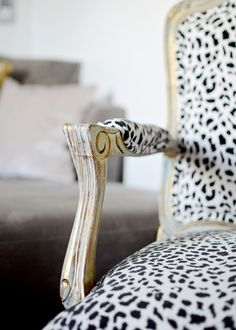 Love this idea, but would use different fabric Snow leopard French Bergere chair xo